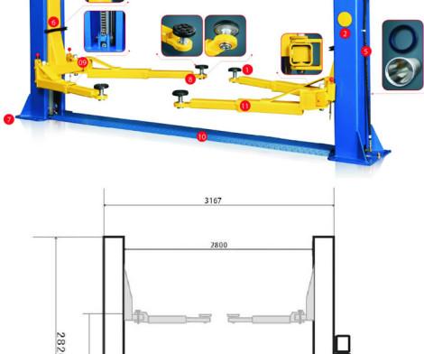 2 post 4ton Car Lifts 220v MANUAL RELEASE 021 5562413
