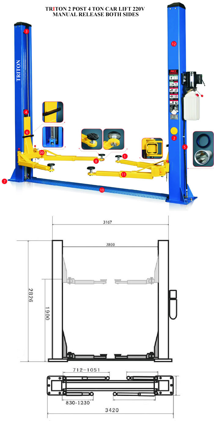 Spray Booths And Car Lifts 4 Post Wiring Diagram 2 4ton 220v Manual Release 021 5562413